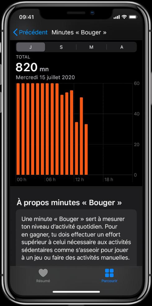 iPhone montrant un rapport Minutes «Bouger». Les onglets Résumé et Parcourir se trouvent en bas, et l'onglet Parcourir est sélectionné.