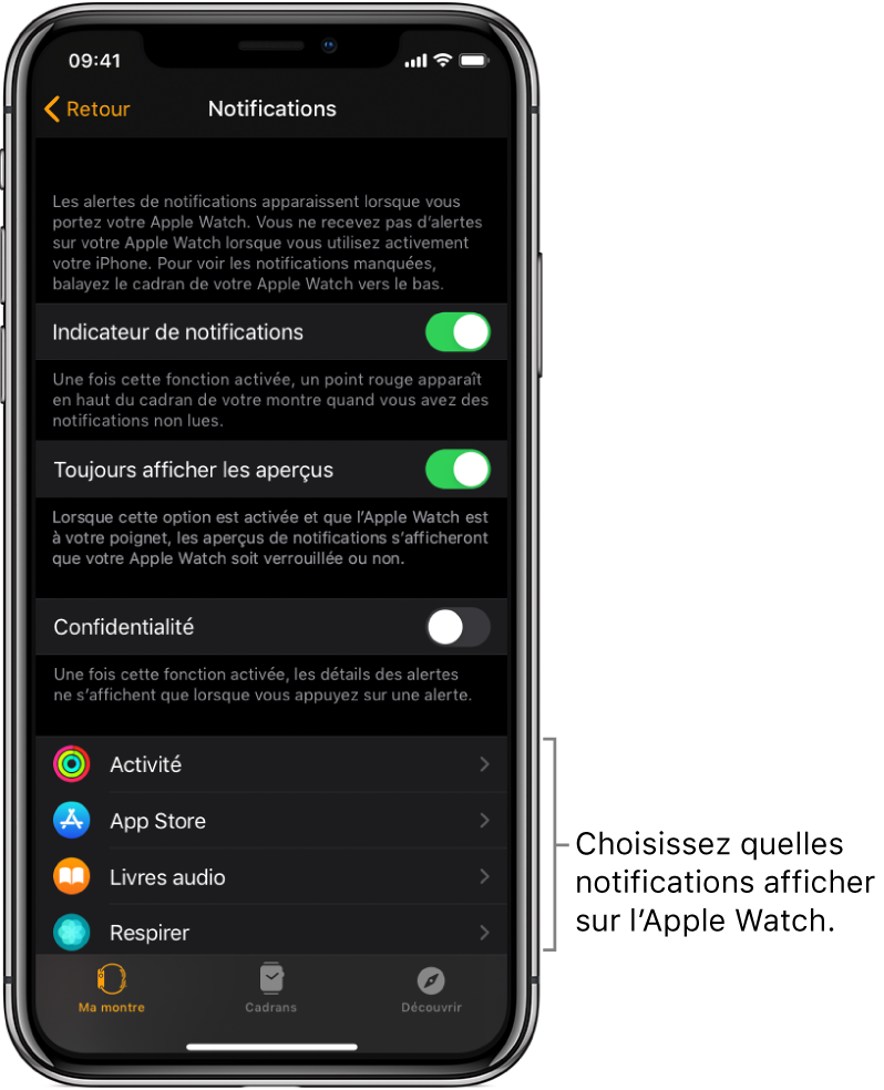 L'écran Notifications de l'app Apple Watch sur l'iPhone montrant des sources de notifications.