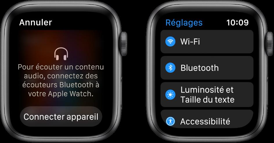 Deux écrans côte à côte. Sur la gauche, un écran vous invite à connecter des écouteurs Bluetooth à votre AppleWatch. Un bouton «Connecter appareil» est en bas. Sur la droite se trouve un écran Réglages, affichant des boutons Wi-Fi, Bluetooth, «Luminosité,Taille du texte» et Accessibilité dans une liste.