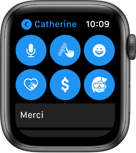 Un écran de Messages affichant le bouton «Apple Pay», ainsi que les boutons Dicter, Griffonner, Emoji, «DigitalTouch» et Memoji.