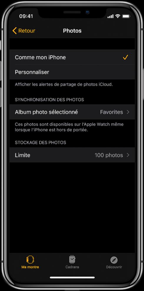 Réglages Photos dans l'app AppleWatch sur l'iPhone, avec le réglage «Synchronisation des photos» au milieu et le réglage «Limite de photos» en dessous.