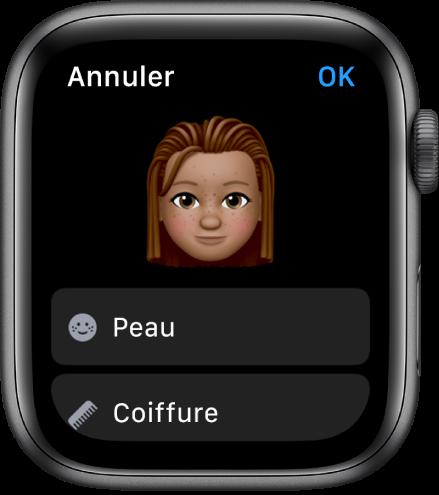 L'app Memoji sur l'AppleWatch affichant un visage vers le haut et des options pour la peau et la coupe de cheveux en dessous.