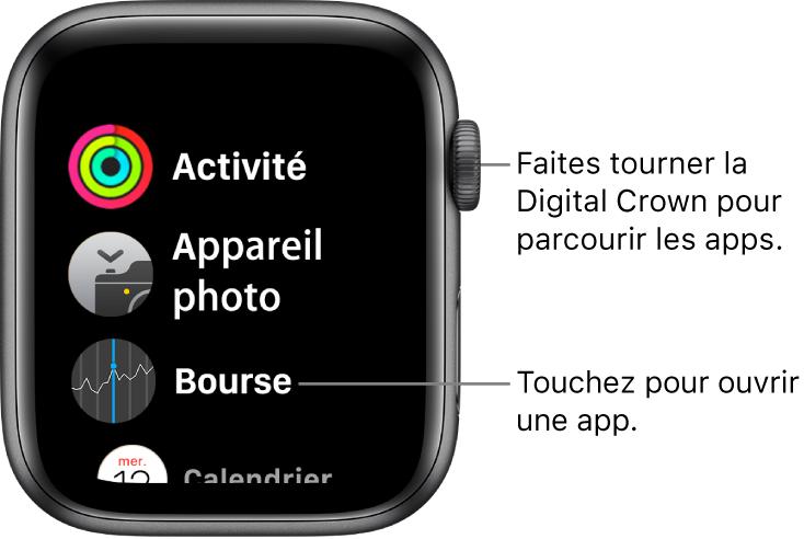 Écran d'accueil en présentation par liste sur l'AppleWatch, avec les apps disposées en liste. Touchez une app pour l'ouvrir. Faites défiler pour afficher plus d'apps.