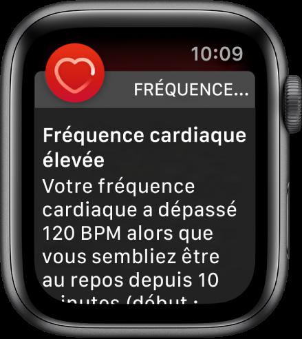 Une alerte Fréquence cardiaque, indiquant une fréquence cardiaque élevée.