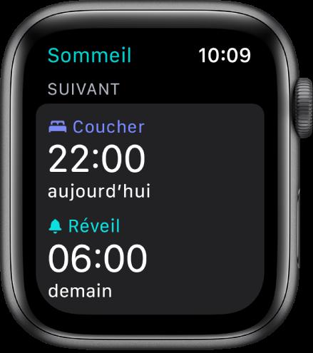App Sommeil sur l'AppleWatch montrant le programme de sommeil de la soirée. Le coucher est défini sur 22h et le réveil est réglé à 6h.