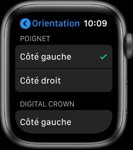 L'écran Orientation sur l'Apple Watch. Vous pouvez définir vos préférences pour le poignet et la DigitalCrown.