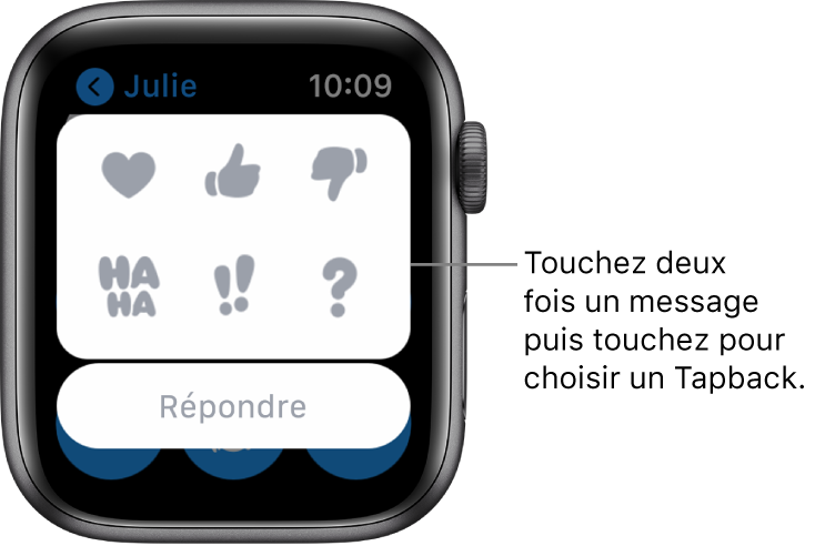 Conversation Messages avec des options Tapback: cœur, pouce vers le haut, vers le bas, Ha Ha, !! et ?. Un bouton de réponse se trouve en dessous.