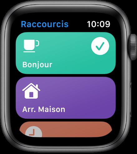 L'app Raccourcis sur l'AppleWatch montrant deux raccourcis (Bonjour et Heure prévue d'arrivée à domicile).