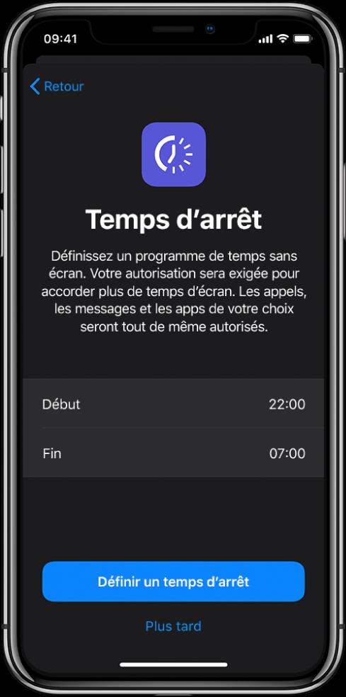 iPhone montrant l'écran de configuration de «Temps d'arrêt». Choisissez une heure de début et de fin au milieu de l'écran. Les boutons «Définir un temps d'arrêt» et «Plus tard» se trouvent en bas de l'écran.