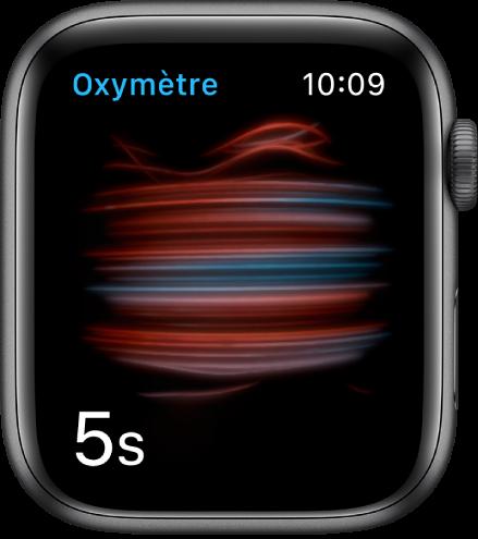 L'écran «Oxygène sanguin» prenant une mesure avec un compte à rebours partant de 5.