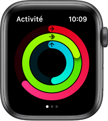 L'écran Activité, affichant les trois anneaux Bouger, M'entraîner et Me lever.