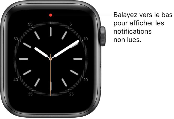 Un point rouge s'affiche en haut au centre de l'écran lorsque vous avez une notification non lue.