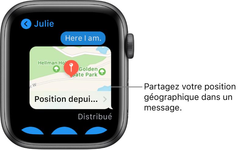 Écran Messages affichant un plan de la position géographique de l'expéditeur.