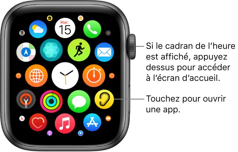 Écran d'accueil en présentation en grille sur l'AppleWatch, avec les apps disposées en grappe. Touchez une app pour l'ouvrir. Faites glisser pour afficher plus d'apps.