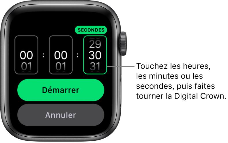Réglages de création d'un minuteur personnalisé, avec les heures à gauche, les minutes au centre et les secondes à droite. Les boutons Démarrer et Annuler se trouvent en dessous.