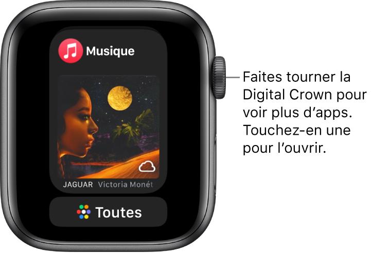 Le Dock affichant l'app Musique avec un bouton «Toutes» en dessous. Faites tourner la couronne DigitalCrown pour afficher plus d'apps. Touchez une app pour l'ouvrir.