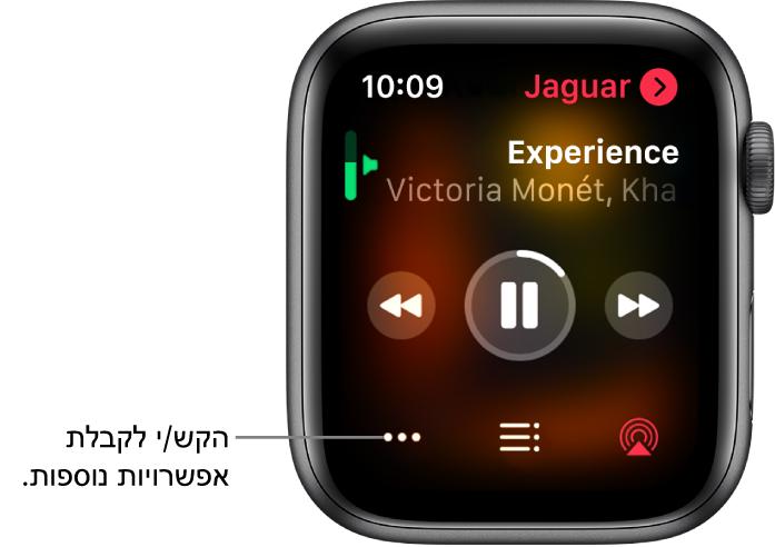 המסך ״מתנגן כעת״ ביישום ״מוסיקה״. שם האלבום נמצא מימין למעלה. שם השיר והאמן מופיעים בחלק העליון, פקדי הפעלה נמצאים באמצע, והכפתורים AirPlay, ״רשימת רצועות״ ו״אפשרויות״ נמצאים בחלק התחתון.