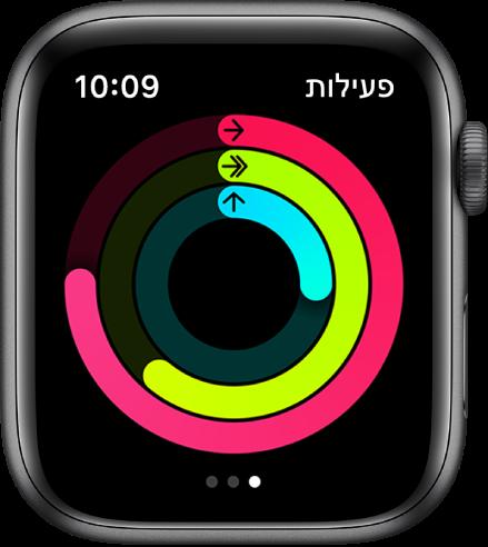 המסך ״פעילות״ מציג את הטבעות ״תנועה״, ״התעמלות״ ו״עמידה״.