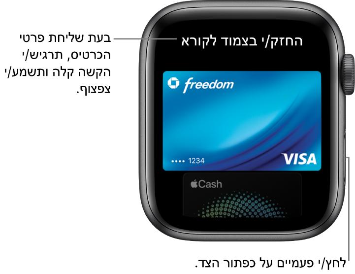 מסך של Apple Pay עם הכיתוב ״החזק/י בצמוד לקורא״;בעת שליחת נתוני הכרטיס תורגש נקישה קלה ויישמע ״ביפ״.