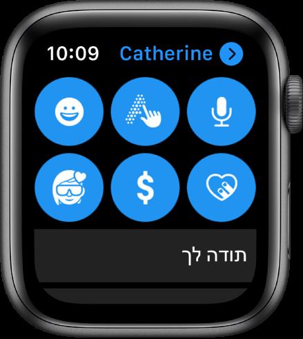 מסך של ״הודעות״ שמציג את הכפתור של Apple Pay לצד הכפתורים ״הכתב״, ״כתב יד״, ״אמוג׳י״, Digital Touch ו‑Memoji.