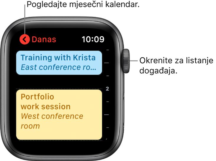 Zaslon kalendara s prikazom popisa današnjih događaja.