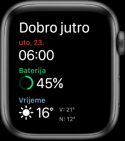 Apple Watch prikazuje zaslon buđenja. Riječi Dobro jutro prikazuju se pri vrhu. Datum, vrijeme, postotak baterije i vrijeme nalaze se ispod.
