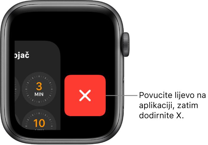 Dock nakon što povučete ulijevo po aplikaciji s tipkom X desno.