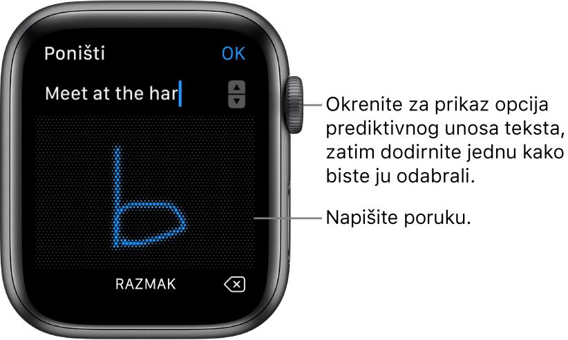 Zaslon na kojem žvrljate poruku za odgovor. Opcije za predviđanje tipkanja prikazuju se pri vrhu, a poruku pišete u središtu.