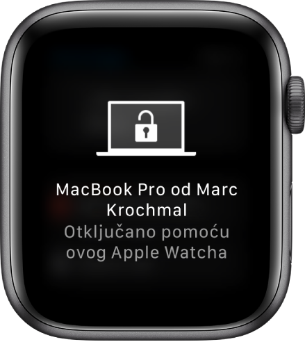 "Apple Watch prikazuje poruku ""Marc Krochmalov MacBook Pro je otključan pomoću ovog Apple Watcha""."