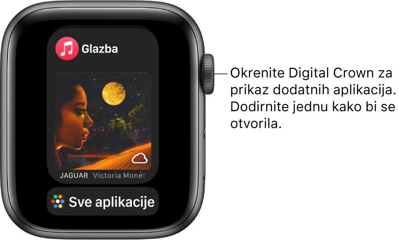 Dock s prikazom aplikacije Glazba, a ispod nje se nalazi tipka Sve aplikacije. Okrenite Digital Crown za prikaz više aplikacija. Dodirnite jednu za otvaranje.