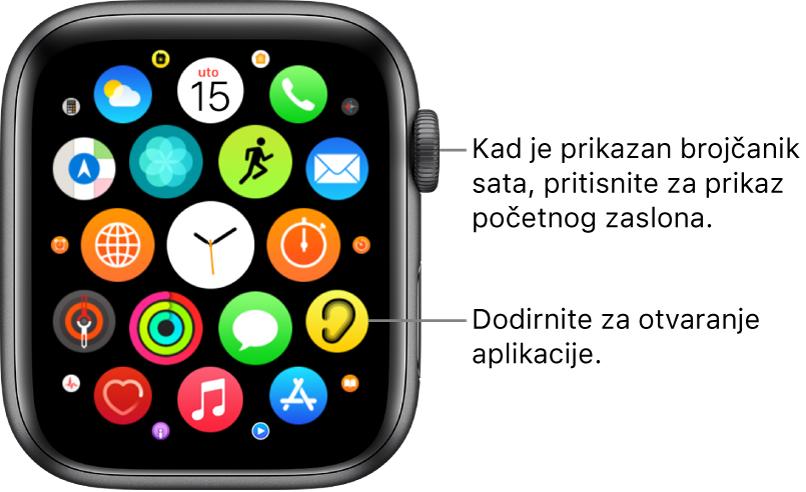 Početni zaslon u prikazu rešetke na Apple Watchu s aplikacijama u klasteru. Dodirnite aplikaciju kako biste je otvorili. Povucite za prikaz više aplikacija.