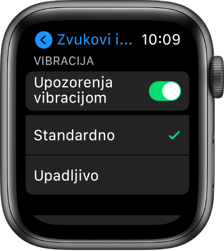Postavke za Zvukove i vibracije na AppleWatchu, s prebacivanjem za obavijesti vibracijom, s opcijama Standardno ili Upadljivo ispod njih