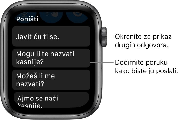 "Zaslon aplikacije Poruke s prikazom tipke Odustani pri vrhu zaslona i tri unaprijed podešena odgovora (""Let me get back to you!"", ""Can I call you later?"", i ""Could you give me a call?"")."