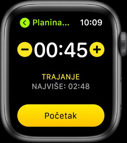 Zaslon s ciljem prikazuje vrijeme pri vrhu zaslona, s tipkama – i + s obje strane i tipkom Pokreni pri dnu zaslona.