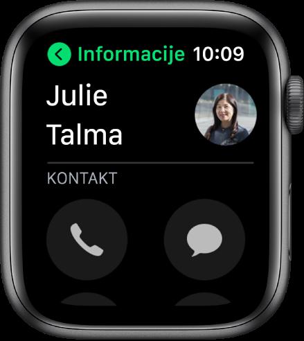 Zaslon Telefona s prikazanim kontaktom i tipkama Poziv i Poruka.