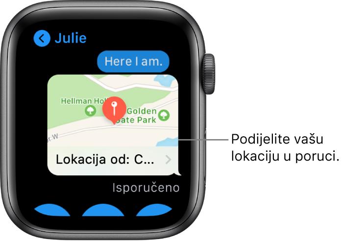 Zaslon Poruka prikazuje kartu s lokacijom pošiljatelja.