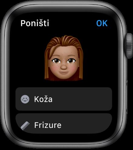 Aplikacija Memoji na Apple Watchu s prikazom lica blizu vrha i opcija Koža i Frizura ispod.