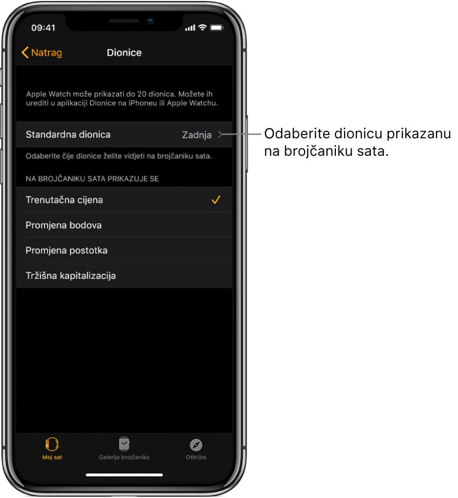 Zaslon s postavkama aplikacije Dionice u aplikaciji Apple Watch na iPhoneu s prikazom opcija za odabir vaše Standardne dionice, koja je postavljena na Posljednje gledano.