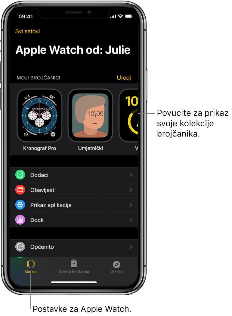 U aplikaciji AppleWatch na iPhoneu otvoren je zaslon Moj sat s prikazom brojčanika vašeg sata pri vrhu zaslona i postavkama pri dnu zaslona. Pri dnu zaslona aplikacije AppleWatch nalaze se tri kartice: lijeva kartica je Moj sat gdje se nalaze postavke za AppleWatch; sljedeća je Galerija brojčanika gdje možete pregledati dostupne brojčanike i dodatke; zatim Otkrij gdje možete saznati više o Apple Watchu.