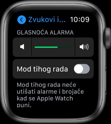 Postavke za opciju Zvukovi i vibracija na AppleWatchu, s kliznikom Glasnoće alarma pri vrhu zaslona i Moda tihog rada ispod kliznika.