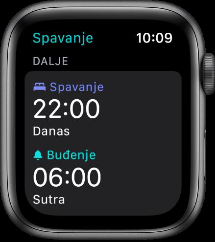 Aplikacija Spavanje na Apple Watchu s prikazom večernjeg rasporeda spavanja. Vrijeme za spavanje podešeno je na 22:00, a za buđenje na 6:00.