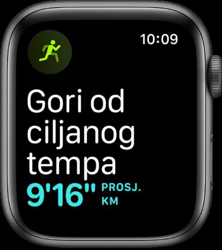Zaslon treninga na kojem piše da trčite sporije od ciljanog tempa.