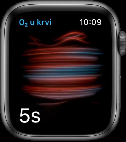 Zaslon zasićenosti kisikom koji mjeri, odbrojava od 5.