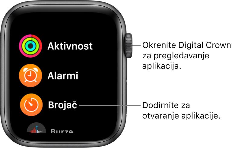 Početni zaslon u prikazu popisa na Apple Watchu s aplikacijama u popisu. Dodirnite aplikaciju kako biste je otvorili. Listajte za prikaz više aplikacija.