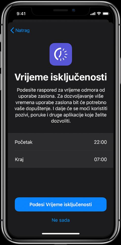 iPhone koji prikazuje zaslon za podešenje Vremena isključenosti. Odaberite početno i završno vrijeme po sredini zaslona. Tipke Podesi vrijeme isključenosti i Ne sada nalaze se pri dnu zaslona.