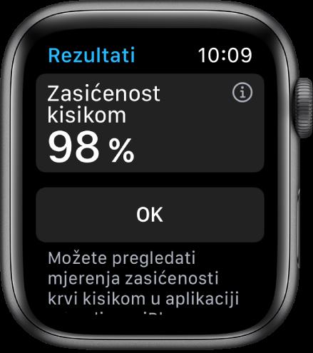 Zaslon s rezultatima zasićenosti kisikom s prikazom zasićenosti kisikom od 98 posto. Tipka Gotovo nalazi se ispod.