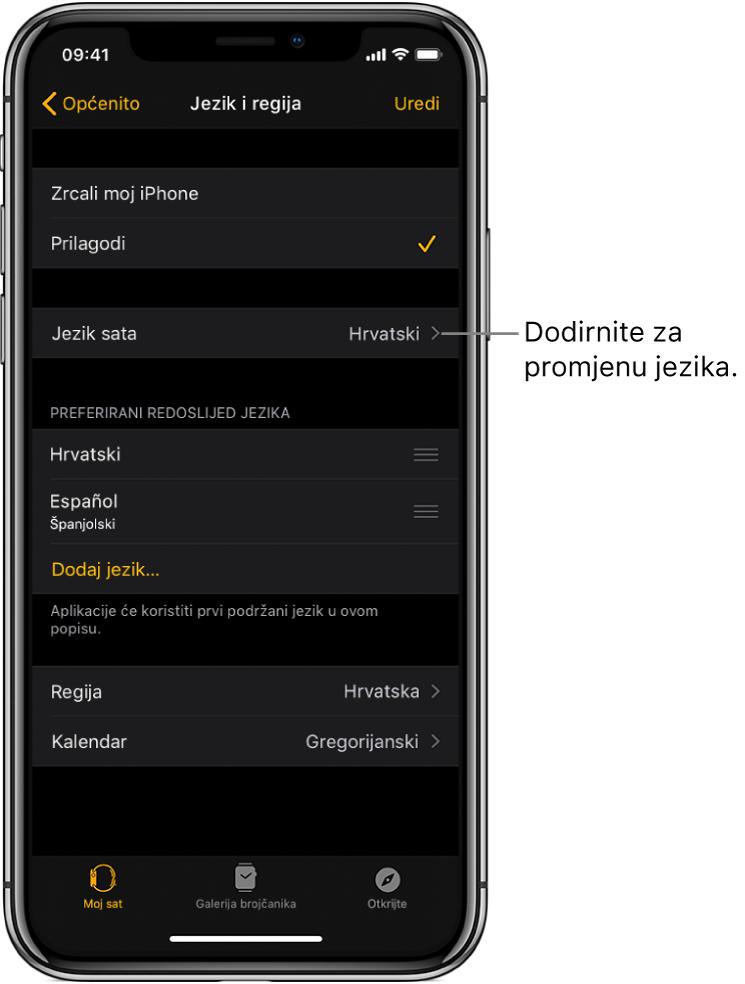 Zaslon jezika i regije unutar aplikacije Apple Watch s postavkom Jezik sata blizu vrha zaslona.
