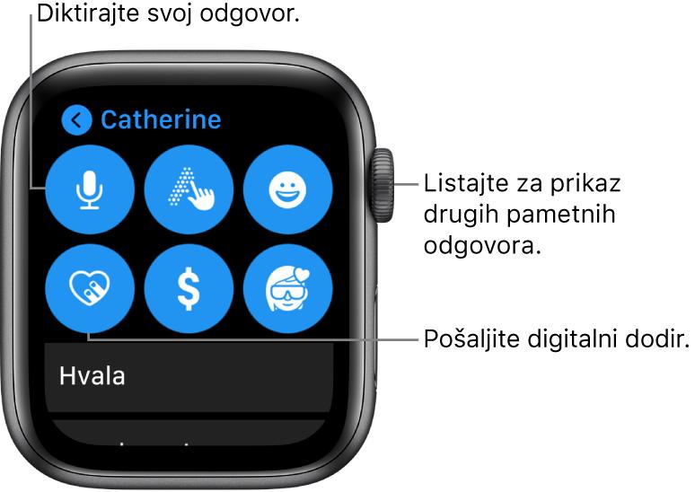 Zaslon s odgovorom prikazuje tipke Diktat, Žvrljanje, Emoji, Digital Touch, Apple Pay i Memoji. Ispod su pametni odgovori. Okrenite Digital Crown da biste vidjeli više pametnih odgovora.