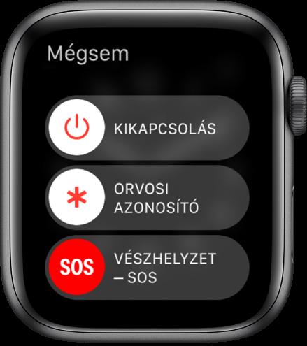 Az Apple Watch képernyője, három csúszkával: Kikapcsolás, Orvosi azonosító és Segélyhívás SOS. Az Apple Watch kikapcsolásához húzza el a Kikapcsolás csúszkát.