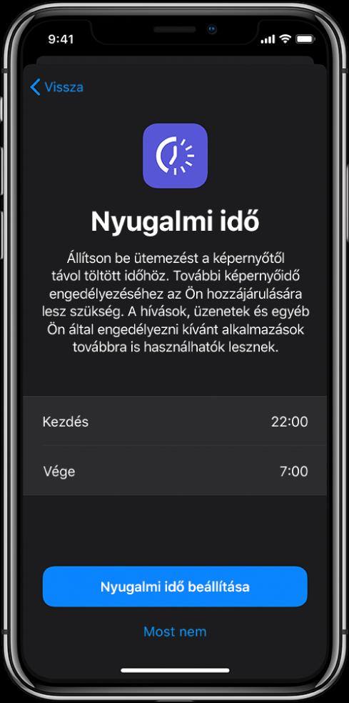 Az iPhone kijelzője a Nyugalmi idő beállítási képernyőjével. A képernyő közepén lehet kiválasztani a kezdési és befejezési időt. A Nyugalmi idő beállítása és a Most nem gomb a képernyő alján látható.